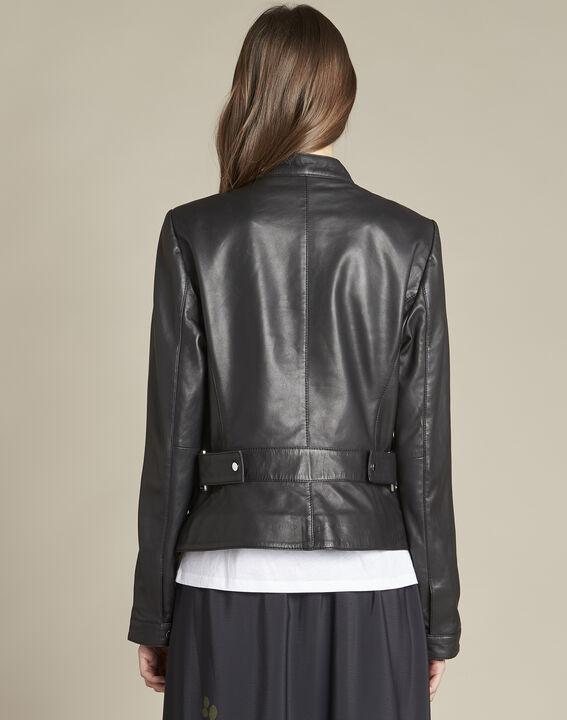 Veste noire courte en cuir Tibo (4) - 1-2-3