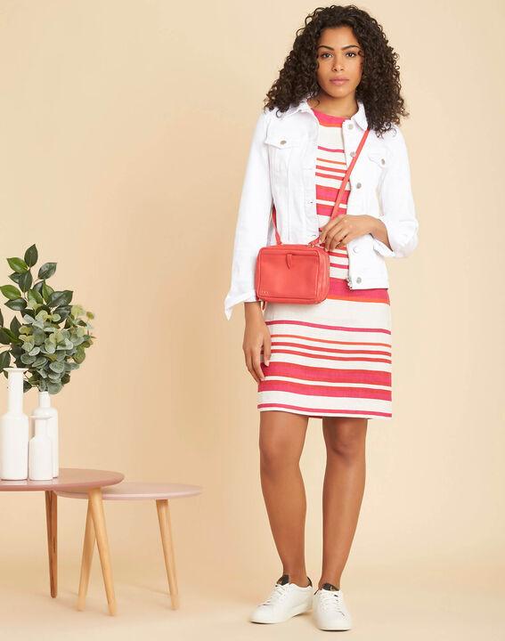 Berangere striped fuchsia linen dress (2) - 1-2-3