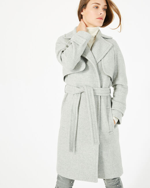 Manteau gris long façon trench Joy (1) - 1-2-3