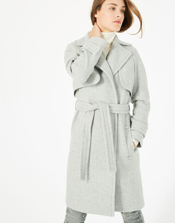 Manteau gris long façon trench Joy (2) - 1-2-3