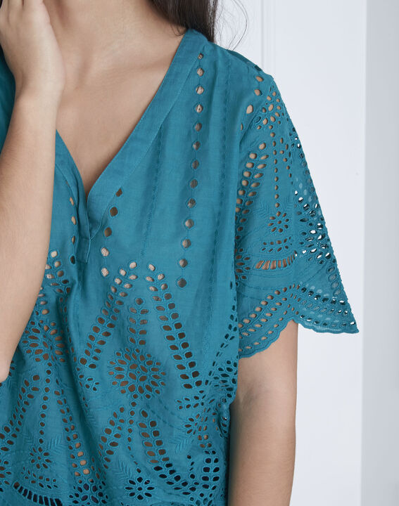 Blouse verte broderie anglaise Voltaire (3) - Maison 123