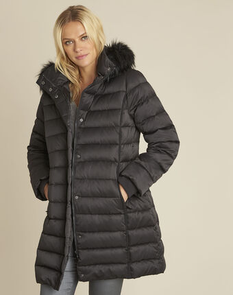 Paloma black faux fur hooded down jacket black.