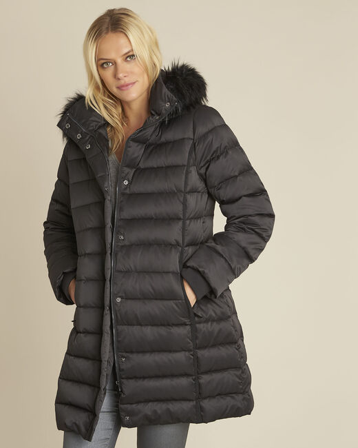 Paloma black faux fur hooded down jacket (2) - 1-2-3