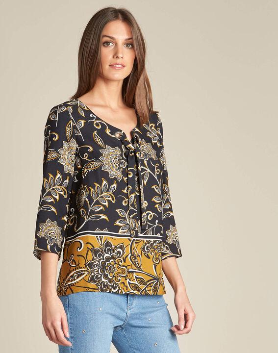 Schwarze Bluse mit Blumenprint Domino (3) - 1-2-3