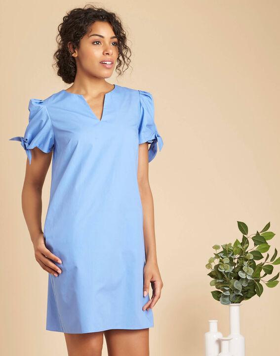 Robe bleu ciel en coton manches fantaisies Pop (3) - 1-2-3