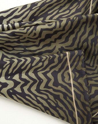 Carré de soie imprimé peau de bête kaki anouk kaki.