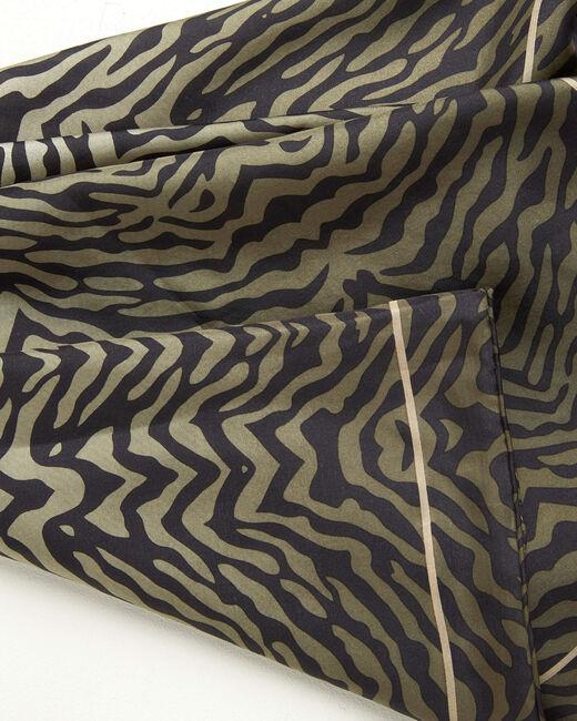 Anouk khaki animal print square silk scarf (2) - 1-2-3