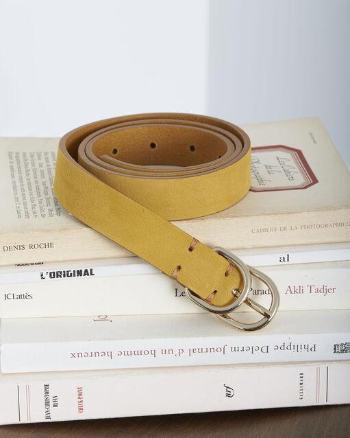 df6bb7aef0b Ceinture jaune fine double boucle en cuir Quorentin (1) - Maison 123