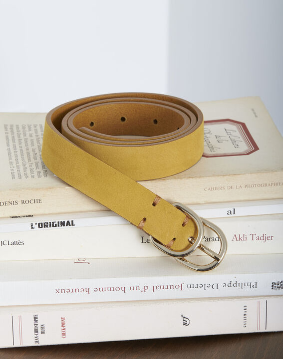 Schmaler gelber Ledergürtel mit Doppelschnalle Quorentin (1) - Maison 123