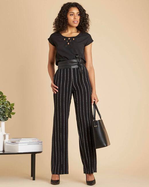 Pantalon noir fluide à rayures Valou (1) - 1-2-3