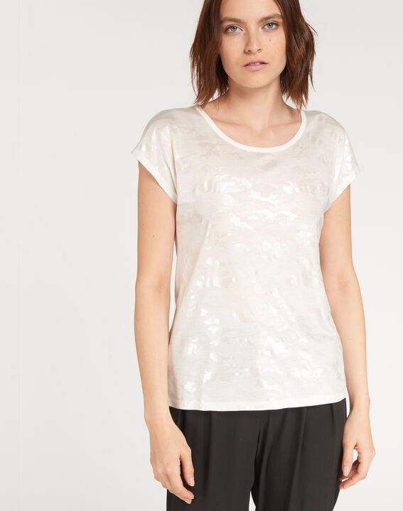 Ecrufarbenes T-Shirt mit Print Nicoleta (2) - 1-2-3