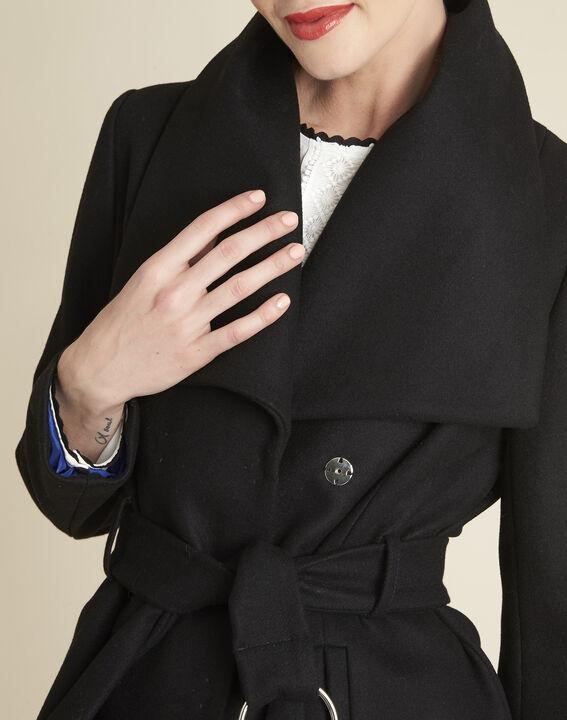 Joss black belted coat with cowl neckline (3) - 1-2-3