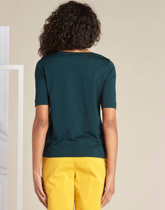 Dunkelgrünes T-Shirt mit goldenen Stickereien Eginko (4) - 1-2-3