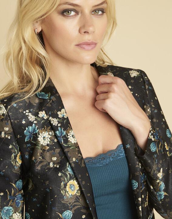 Schwarze Jacke mit Blumenprint Demoiselle (3) - 1-2-3