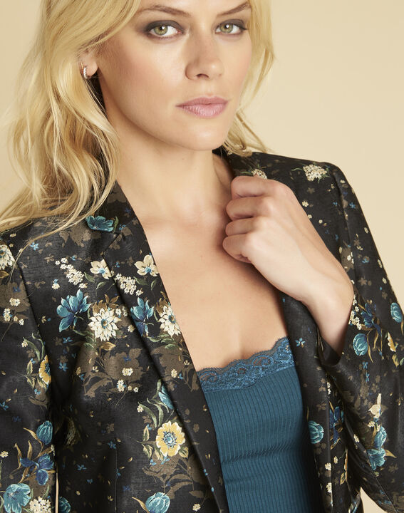 Demoiselle black jacket with floral print (3) - 1-2-3