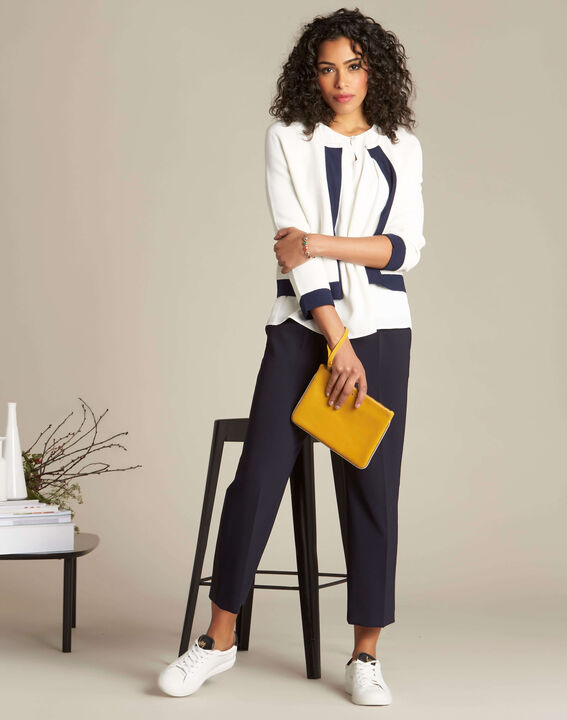 Droopy pale yellow clutch with leather straps (3) - 1-2-3