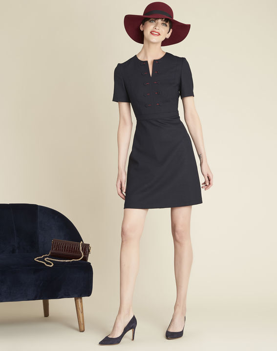 Delia short navy blue dress with button detailing (3) - 1-2-3