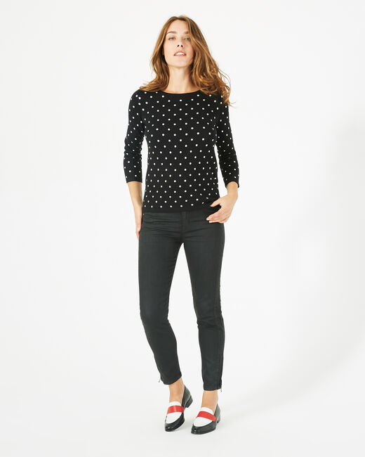 Party black polka dot sweater with rounded neckline (1) - 1-2-3