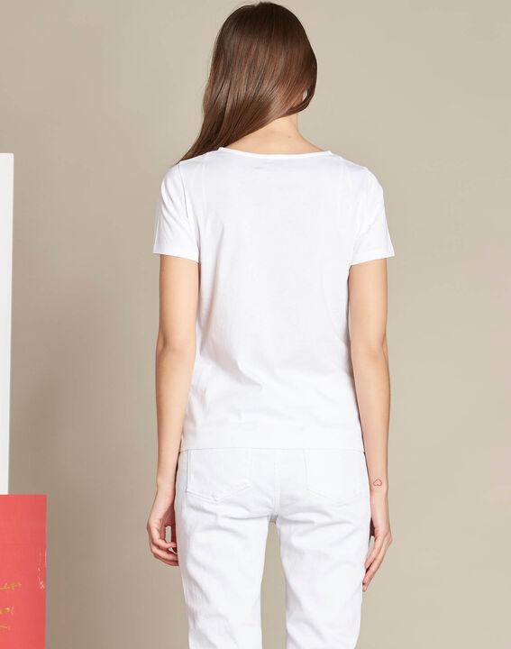 Tee-shirt blanc imprimé pois en coton Elance (4) - 1-2-3