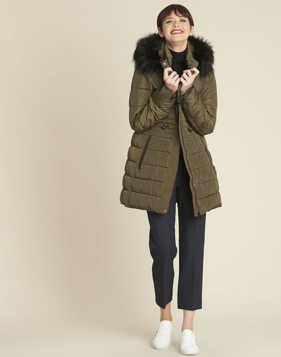 Perrine khaki faux fur hooded down jacket (2) - 1-2-3