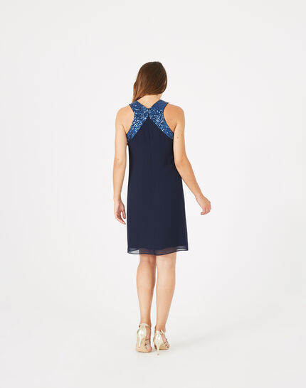 Gala ink blue dress with sequinned detailing (5) - 1-2-3