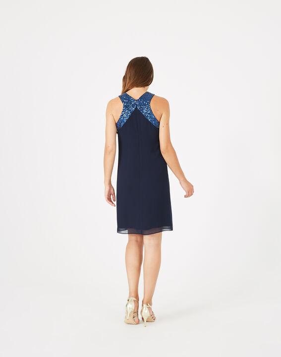 Robe bleu encre détails sequins Gala (5) - 1-2-3
