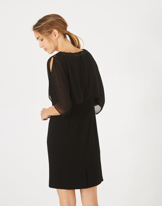 Robe noire à volants col bijou Anita (4) - 1-2-3