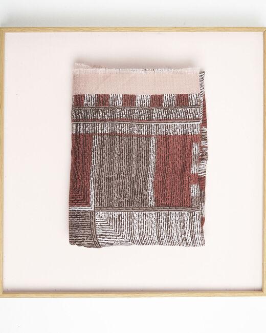 Foulard rouge imprimé à franges Formidable (2) - 1-2-3
