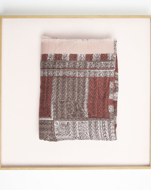 Rode sjaal met franjes en print Formidable (2) - 37653