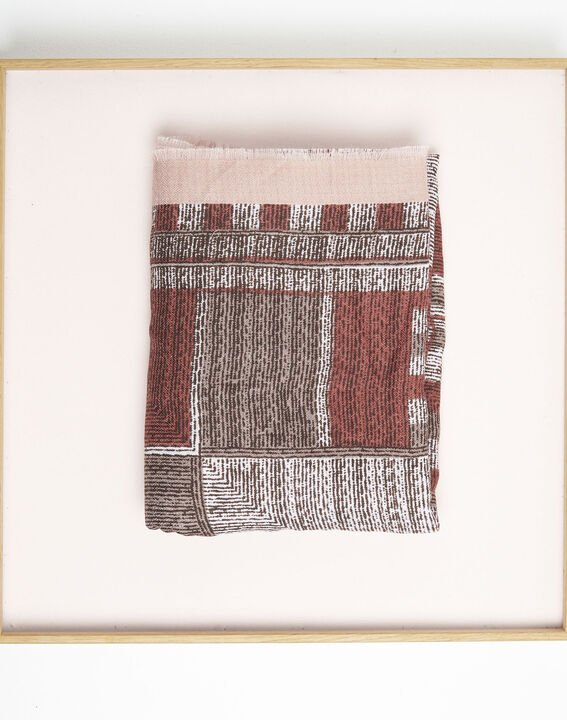 Formidable red printed fringed scarf (1) - Maison 123