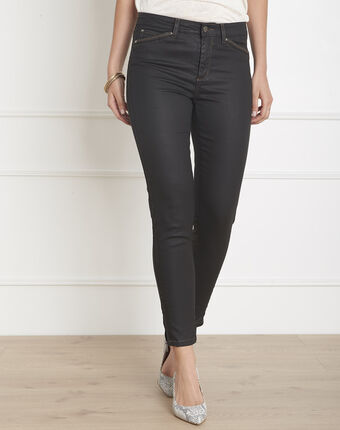Opera 7/8 length coated black slim-cut jeans black.