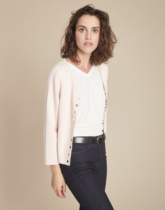 Abricotier powder cardigan with compact eyelets  (2) - 1-2-3