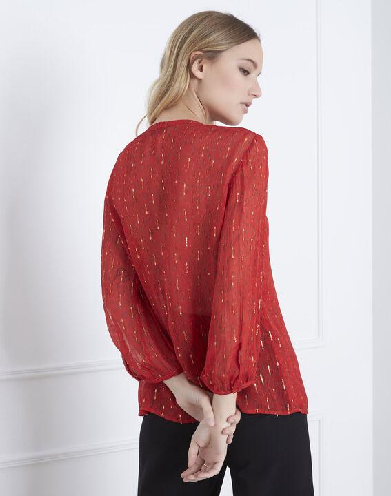 Rote Bluse mit Lurex-Details und Volants Vidal (4) - Maison 123