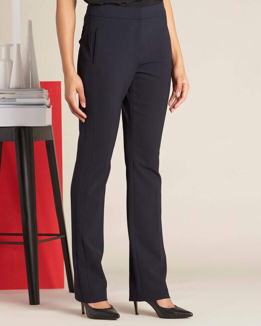 Pantalon marine droit en microfibre Vasco (2) - 1-2-3