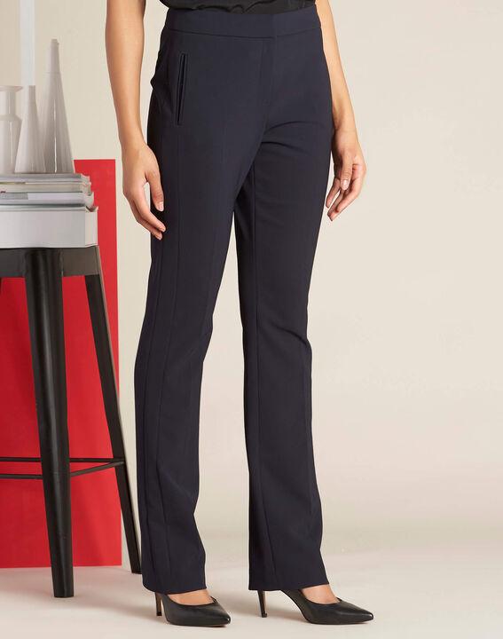 Pantalon marine droit en microfibre Vasco (3) - 1-2-3