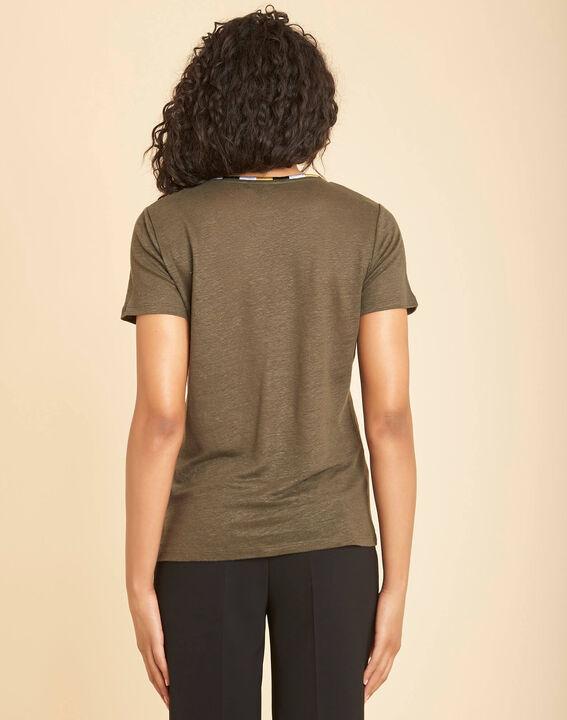 Khakifarbenes Leinen-T-Shirt mit Fantasiekragen Elin (4) - 1-2-3