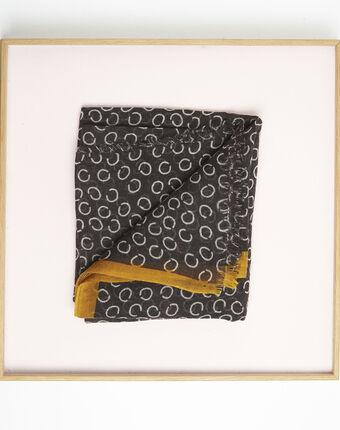 Foulard noir imprimé pois en laine fabiene schwarz.