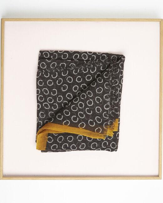 Foulard noir imprimé pois en laine Fabiene (1) - 1-2-3