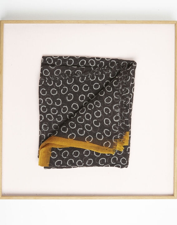 Fabiene black wool scarf with polka dot print  (2) - 1-2-3