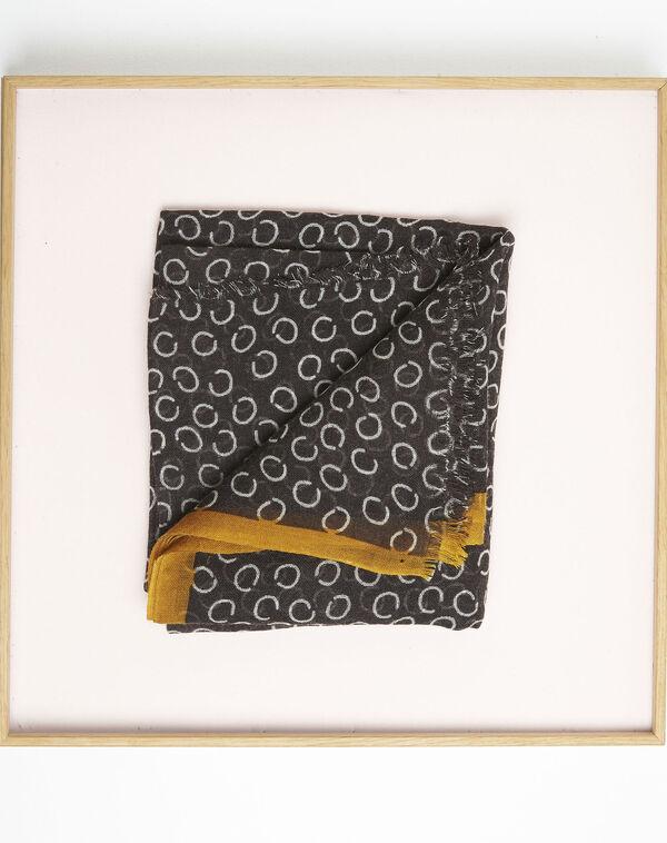 Fabiene black wool scarf with polka dot print  (1) - 1-2-3