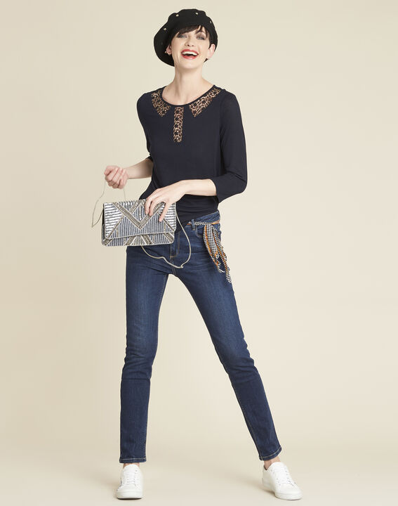 Gaiete navy T-shirt with lace neckline (2) - 1-2-3