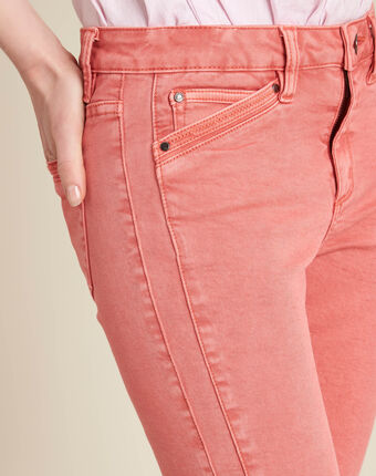 Opera slim-cut coral jeans with ankle zips coral.