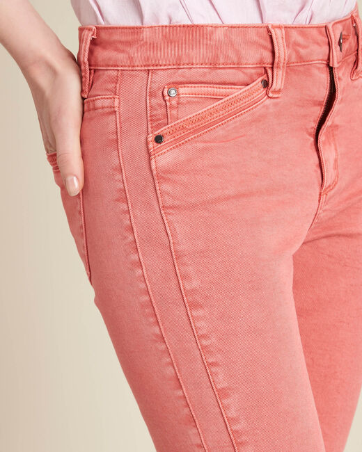 Opera slim-cut coral jeans with ankle zips (1) - 1-2-3