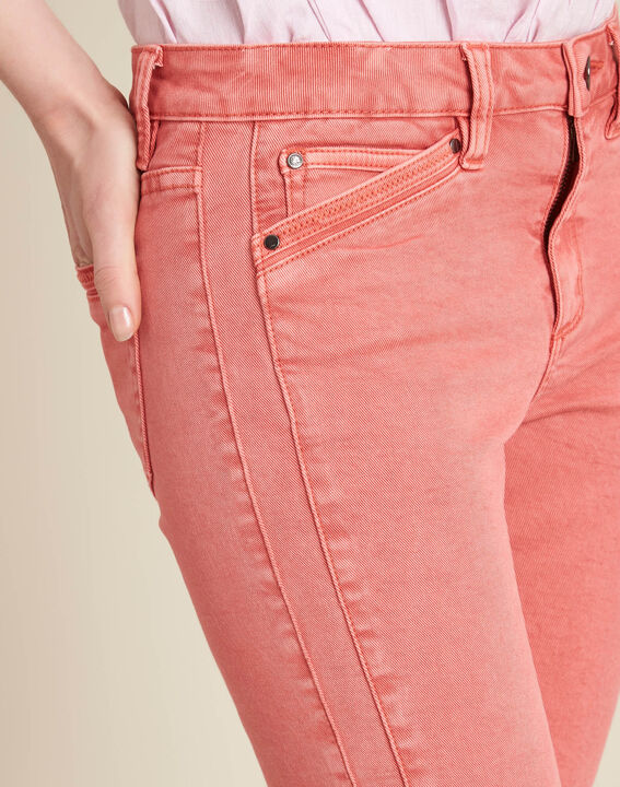 Opera slim-cut coral jeans with ankle zips PhotoZ | 1-2-3