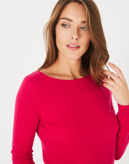 Petunia dark fuchsia, cashmere sweater with round neck (3) - 1-2-3