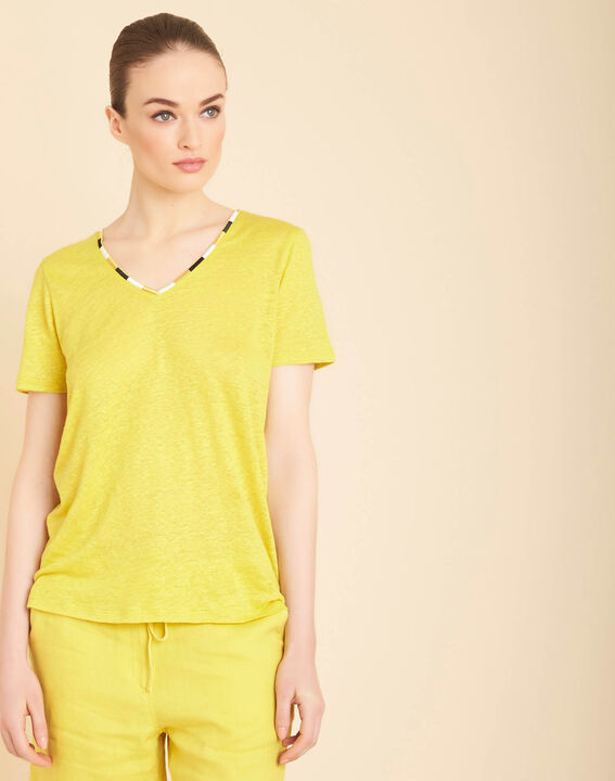 Elin yellow anise linen T-shirt with decorative neckline (3) - 1-2-3