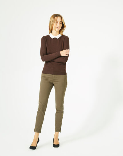 Pretty dark brown sweater with stylish neckline (1) - 1-2-3