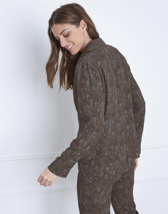 Weich fallende kakifarbene Jacke mit Pythonschlangen-Print Farley (4) - Maison 123