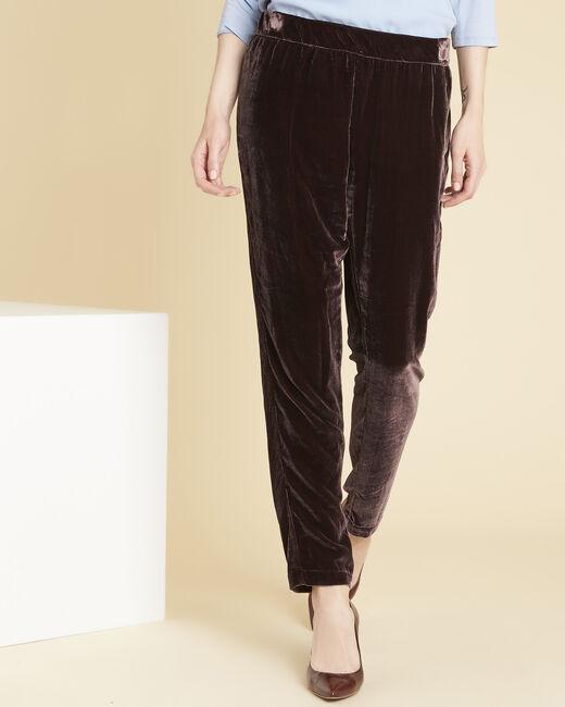 Hibou dark red slim-cut velour trousers (2) - 1-2-3