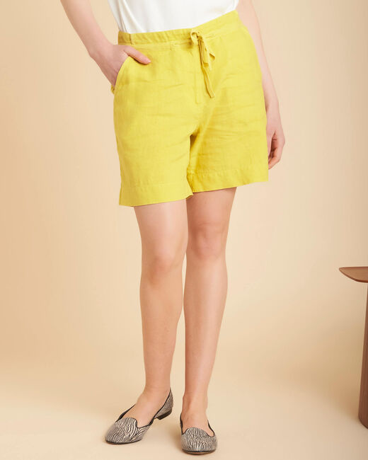 Citron yellow linen shorts (2) - 1-2-3